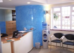 Reception area polished plaster
